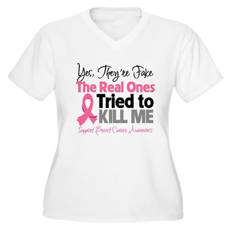 Breast Cancer Fake Women's Plus Size V-Neck T-Shir