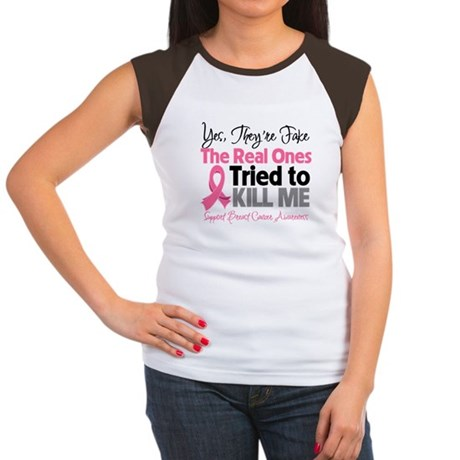 Breast Cancer Fake Women's Cap Sleeve T-Shirt