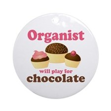 Funny Chocolate Organist Ornament (Round)