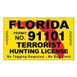 Florida Terrorist Hunting License  Aufkleber