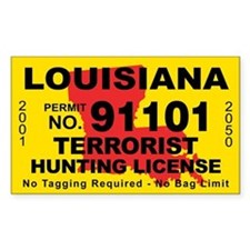 Louisiana Terrorist Hunting License Decal