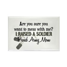 Raised a Soldier - Mom Rectangle Magnet