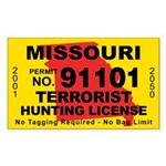 Missouri terrorist hunting license sticker for Mo fishing license