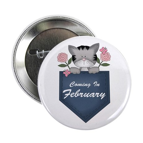 "Kitty February Pregnancy 2.25"" Button"