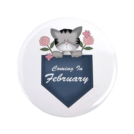 "Kitty February Pregnancy 3.5"" Button"