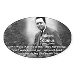 Albert Camus Philosophy Quote Oval Sticker