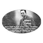Albert Camus Philosophy Quote Oval Sticker