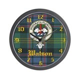 Watson Clan Crest Badge Clock Wall Clock