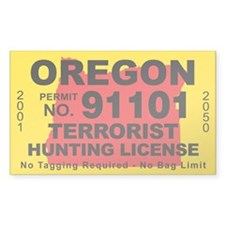 Oregon Terrorist Hunting License Decal