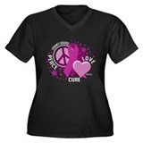 Crohn's Disease Peace Love Cu Women's Plus Size V-