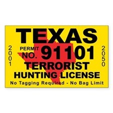 TexasTerrorist Hunting License Bumper Stickers