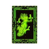 Absinth Fairy Freya with cats green Rectangle Magn
