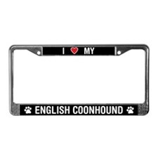 I Love My English Coonhound License Plate Frame