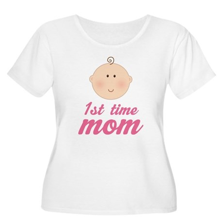 Cute First Time Mom Women's Plus Size Scoop Neck T