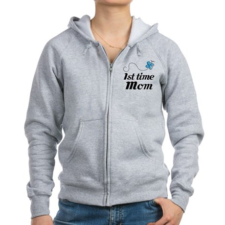 Pretty 1st Time Mom Women's Zip Hoodie