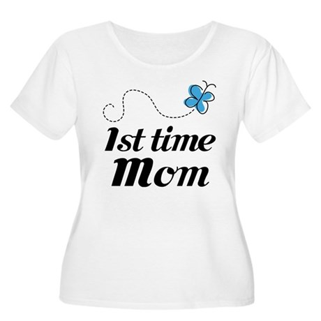 Pretty 1st Time Mom Women's Plus Size Scoop Neck T