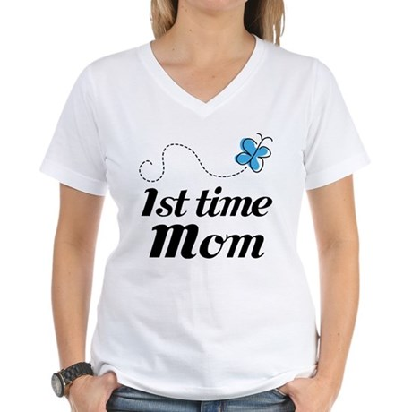 Pretty 1st Time Mom Women's V-Neck T-Shirt