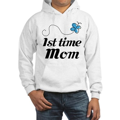 Pretty 1st Time Mom Hooded Sweatshirt