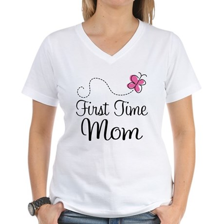 Fun 1st Time Mom Women's V-Neck T-Shirt