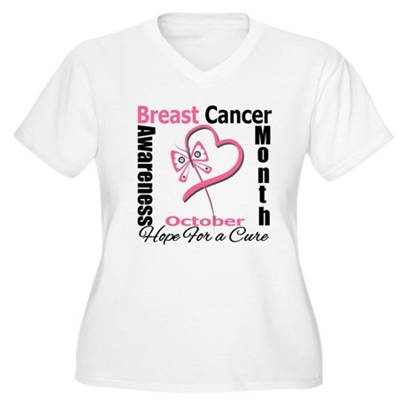 Breast Cancer Month Heart But Women's Plus Size V-