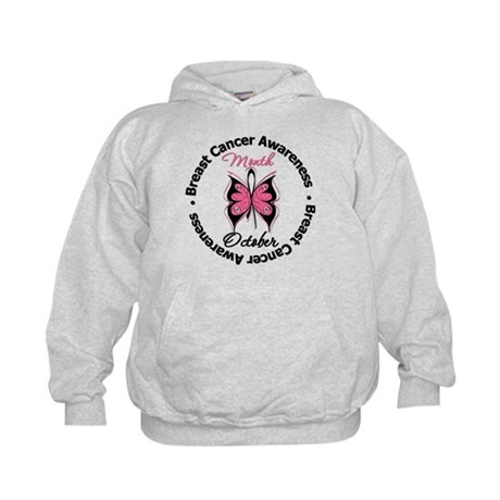 Butterfly Breast Cancer Kids Hoodie