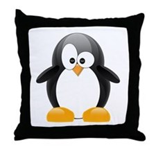 Black Penguin Throw Pillow
