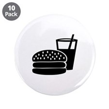 "Fast food - Burger 3.5"" Button (10 pack)"