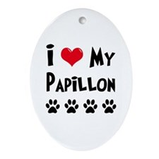 I Love My Papillon Ornament (Oval)