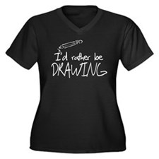 I'd Rather Be Drawing Women's Plus Size V-Neck Dar