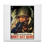 Don't Get Hurt Poster Art Tile Coaster