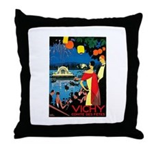Vintage Vichy Comite des Fetes Throw Pillow