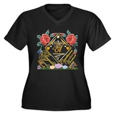 Women's Plus Size V-Neck Dark T-Shirt with flowers