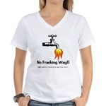 No Fracking Way Women's V-Neck T-Shirt