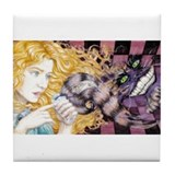 Alice & Cheshire (light) Tile Coaster