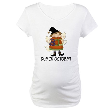 Halloween Witch October Due Date Maternity Tshirt