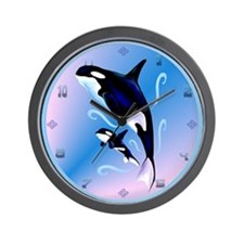 Orca Mom and Baby Wall Clock
