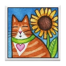 GINGER TUX... Whimsical Cat Tile Coaster