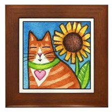 GINGER TABBY... Framed Ceramic Tile