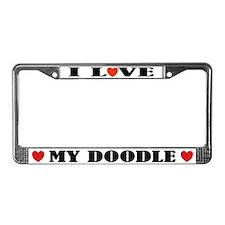 I Love My Doodle License Plate Frame Gift