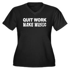 Quit Work Make Music Women's Plus Size V-Neck Dark