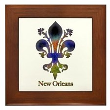 New Orleans colorful Fleur Framed Tile