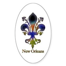 New Orleans colorful Fleur Oval Decal