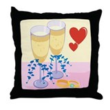 Wine & Wedding Rings Throw Pillow