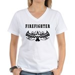 Firefighter Tattoos Women's V-Neck T-Shirt
