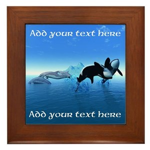 Dolphins and Orcas Framed Tile
