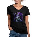 Crochet Purple Women's V-Neck Dark T-Shirt