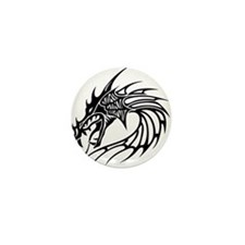 Tribal Dragon Head Mini Button