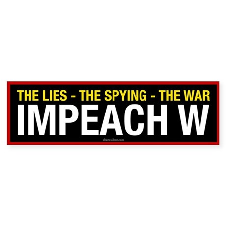 Black Impeach W Bumper Sticker