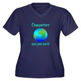 Computers Women's Plus Size V-Neck Dark T-Shirt