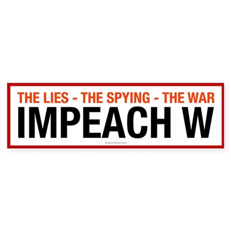 White Impeach W Bumper Sticker
